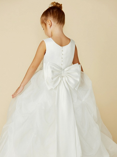 Ball Gown Floor Length Wedding / First Communion Flower Girl Dresses - Organza / Satin Sleeveless Jewel Neck With Sash / Ribbon / Bow(S) / Flower_9