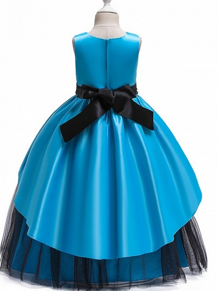 Princess Round Floor Length Cotton Junior Bridesmaid Dress With Bow(S) / Ruching_7