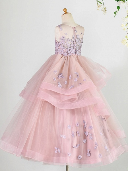 Princess Floor Length Wedding / Birthday / Pageant Flower Girl Dresses - Lace / Tulle Sleeveless Jewel Neck With Beading / Appliques_2