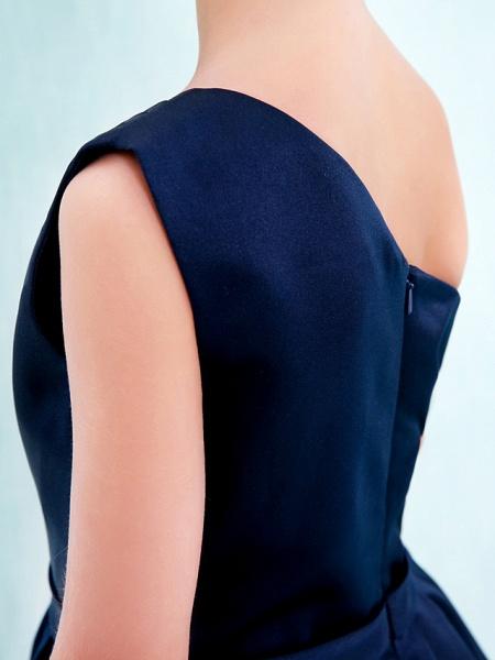 A-Line One Shoulder Knee Length Satin Junior Bridesmaid Dress With Sash / Ribbon / Pleats / Natural_9