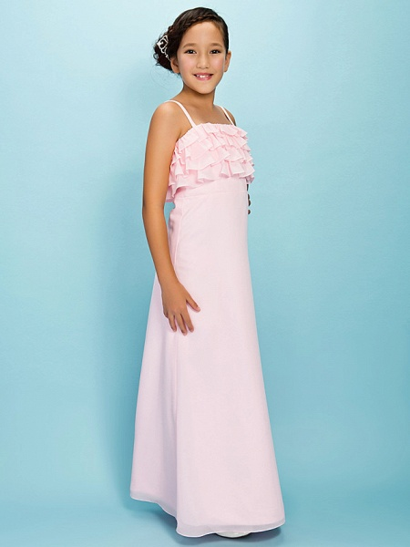 A-Line / Sheath / Column Spaghetti Strap Floor Length Chiffon Junior Bridesmaid Dress With Pleats / Ruffles / Spring / Fall / Winter / Apple / Hourglass_2