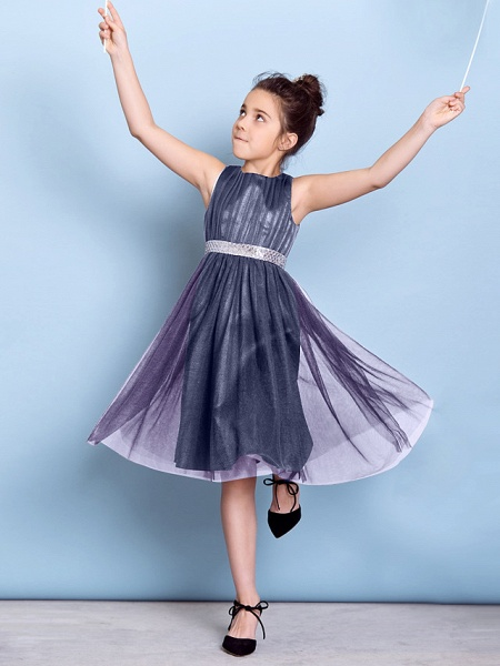 A-Line Jewel Neck Knee Length Tulle Junior Bridesmaid Dress With Sash / Ribbon / Sequin / Draping / Natural_49