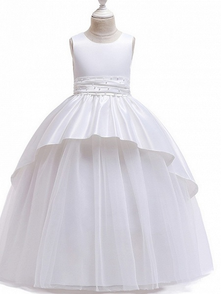 Princess Round Floor Length Cotton Junior Bridesmaid Dress With Bow(S) / Ruching_4