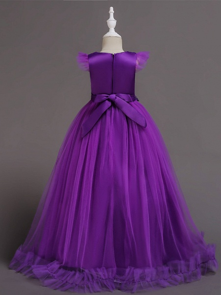 A-Line Floor Length Wedding / Party / Pageant Flower Girl Dresses - Tulle / Polyester Short Sleeve Jewel Neck With Bow(S) / Butterfly_13