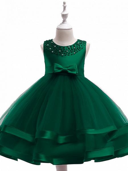 A-Line Knee Length Wedding / Birthday / Pageant Flower Girl Dresses - Cotton Blend Sleeveless Jewel Neck With Sash / Ribbon / Pearls / Trim_6