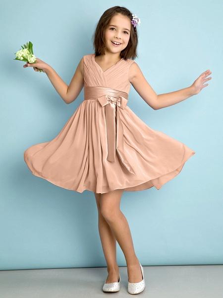 A-Line V Neck Knee Length Chiffon Junior Bridesmaid Dress With Bow(S) / Criss Cross / Natural_11