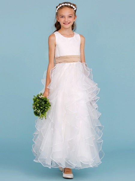 Princess / A-Line Jewel Neck Ankle Length Organza / Satin Junior Bridesmaid Dress With Sash / Ribbon / Cascading Ruffles / Wedding Party_4
