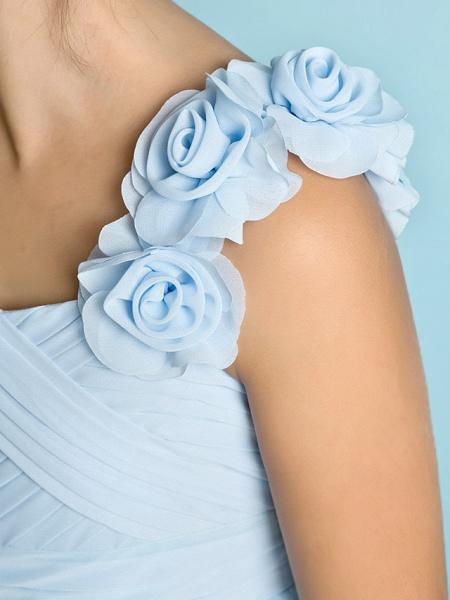 A-Line One Shoulder Asymmetrical Chiffon Junior Bridesmaid Dress With Criss Cross / Flower / Natural / Mini Me_8