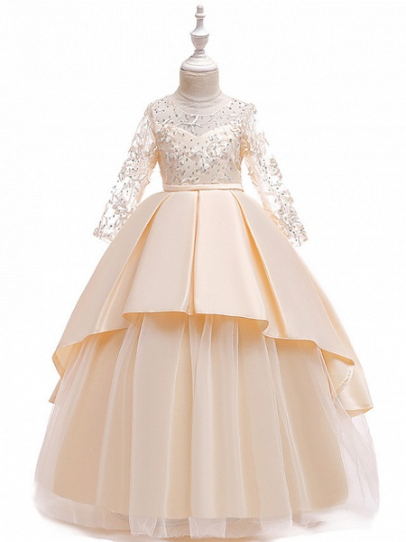 Princess Floor Length Wedding / Party / Pageant Flower Girl Dresses - Lace / Satin / Tulle Long Sleeve Jewel Neck With Lace / Belt / Crystals_1