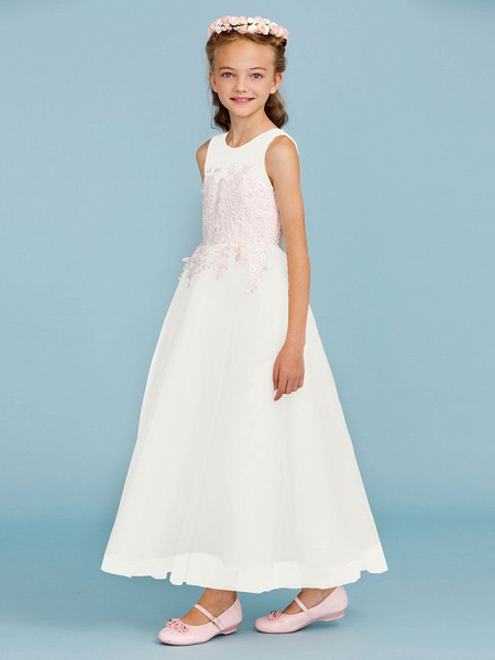 Princess / A-Line Jewel Neck Ankle Length Lace / Tulle Junior Bridesmaid Dress With Sash / Ribbon / Appliques / Wedding Party / Open Back_50