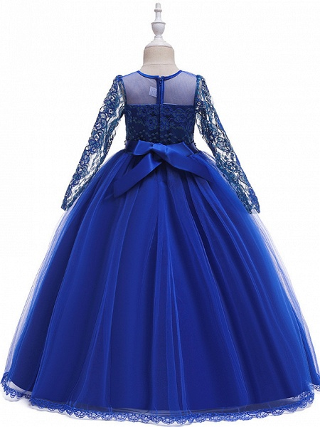 Princess Long Length Party / Pageant Flower Girl Dresses - Poly / Polyester / Cotton / Lace Long Sleeve Jewel Neck With Butterfly Design / Sash / Ribbon / Beading_2