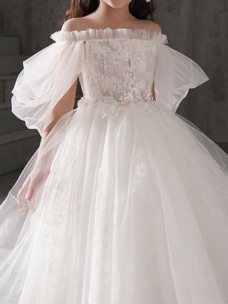 Ball Gown Ankle Length First Communion Flower Girl Dresses - Polyester Half Sleeve Off Shoulder With Appliques_2