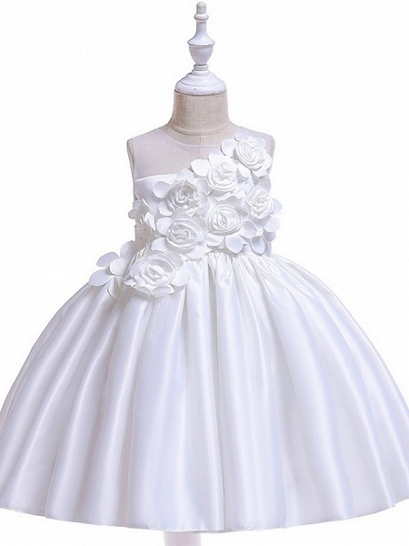 Princess / Ball Gown Knee Length Wedding / Party Flower Girl Dresses - Tulle Sleeveless Jewel Neck With Bow(S) / Pleats / Flower_8