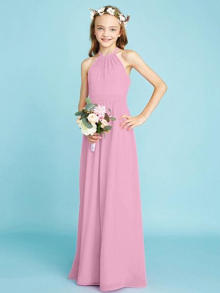 A-Line Halter Neck Floor Length Chiffon Junior Bridesmaid Dress With Sash / Ribbon / Natural_12