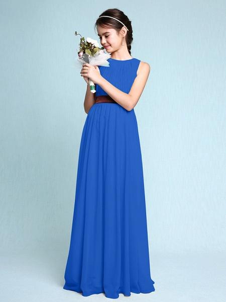 Sheath / Column Scoop Neck Floor Length Chiffon Junior Bridesmaid Dress With Draping / Natural_34