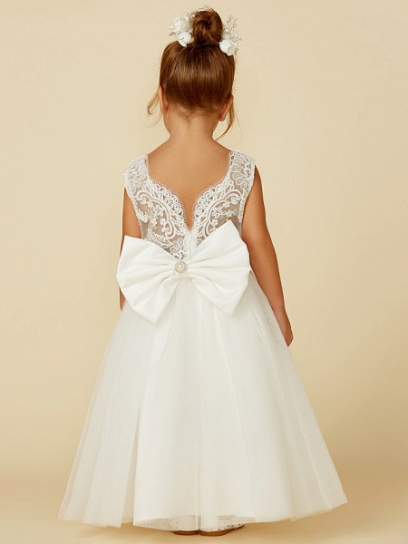 Princess Floor Length Wedding / First Communion Flower Girl Dresses - Lace / Tulle Sleeveless Jewel Neck With Lace / Sash / Ribbon / Bow(S)_2