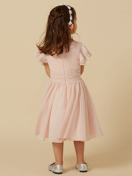 A-Line Tea Length Holiday Flower Girl Dresses - Chiffon Short Sleeve Scoop Neck With Sash / Ribbon_2