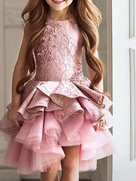 Ball Gown Asymmetrical Pageant Flower Girl Dresses - Polyester Sleeveless Jewel Neck With Cascading Ruffles_1
