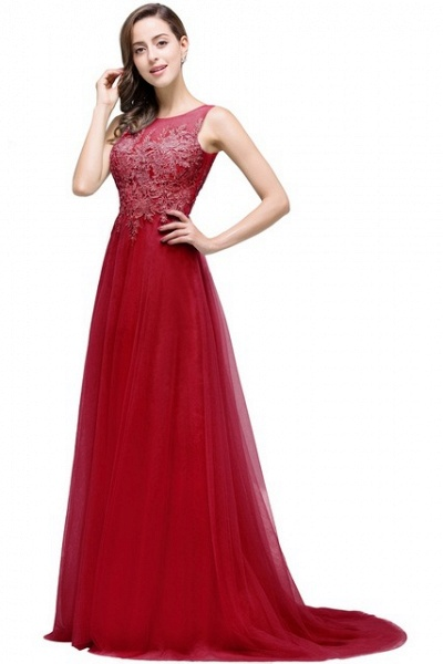 A-line Tulle Appliques Court Train Evening Dress_4