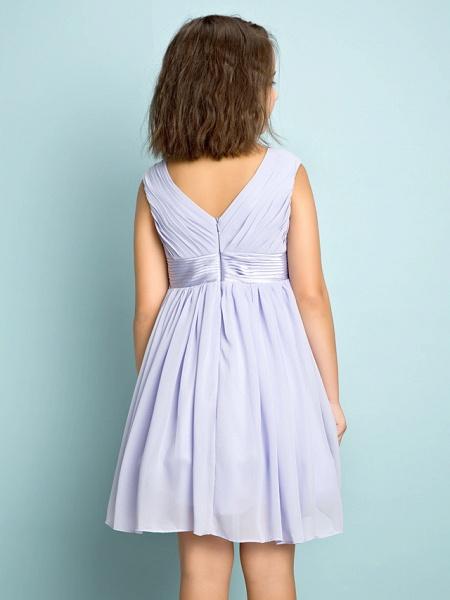 A-Line V Neck Knee Length Chiffon Junior Bridesmaid Dress With Bow(S) / Criss Cross / Natural_6