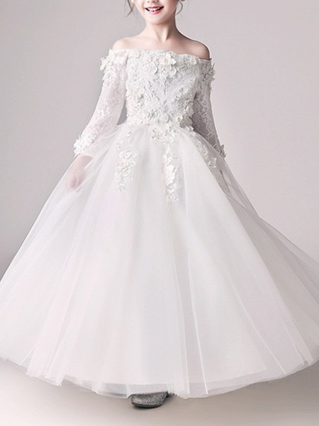 Ball Gown Floor Length First Communion Flower Girl Dresses - Polyester 3/4 Length Sleeve Off Shoulder With Appliques_1