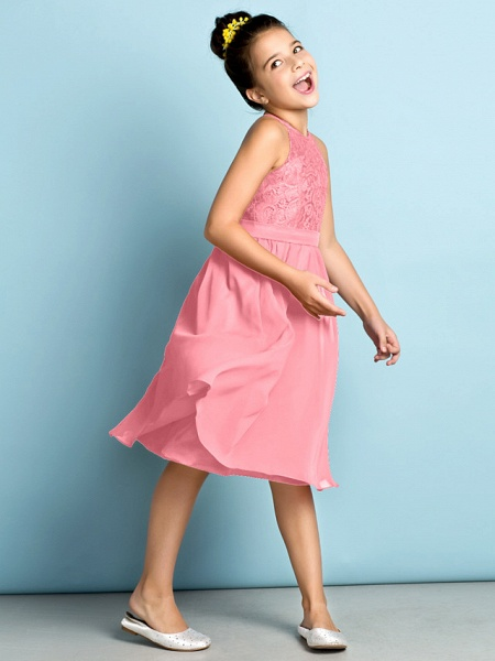 A-Line Jewel Neck Knee Length Chiffon / Lace Junior Bridesmaid Dress With Lace / Natural / Mini Me_21