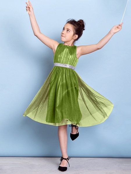 A-Line Jewel Neck Knee Length Tulle Junior Bridesmaid Dress With Sash / Ribbon / Sequin / Draping / Natural_32