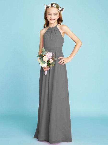 A-Line Halter Neck Floor Length Chiffon Junior Bridesmaid Dress With Sash / Ribbon / Natural_26