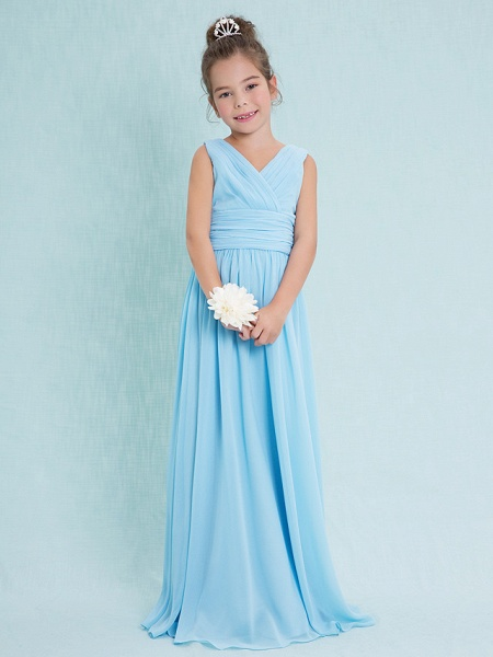 Sheath / Column V Neck Floor Length Chiffon Junior Bridesmaid Dress With Criss Cross / Ruched / Natural_1