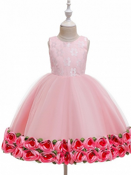 Princess / Ball Gown Knee Length Wedding / Party Flower Girl Dresses - Tulle Sleeveless Jewel Neck With Bow(S) / Pattern / Print / Flower_8