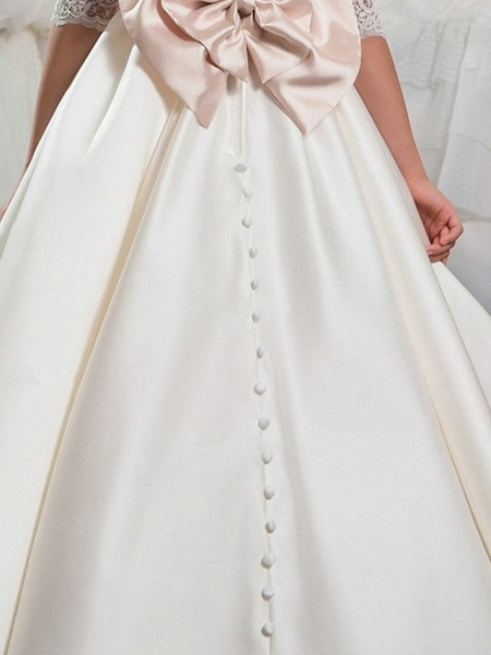 Ball Gown Floor Length Event / Party / Formal Evening Flower Girl Dresses - Polyester 3/4 Length Sleeve Scoop Neck With Lace / Bow(S)_4