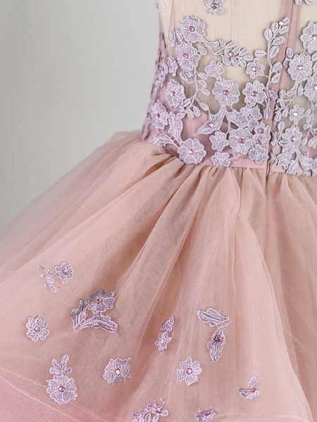 Princess Floor Length Wedding / Birthday / Pageant Flower Girl Dresses - Lace / Tulle Sleeveless Jewel Neck With Beading / Appliques_6