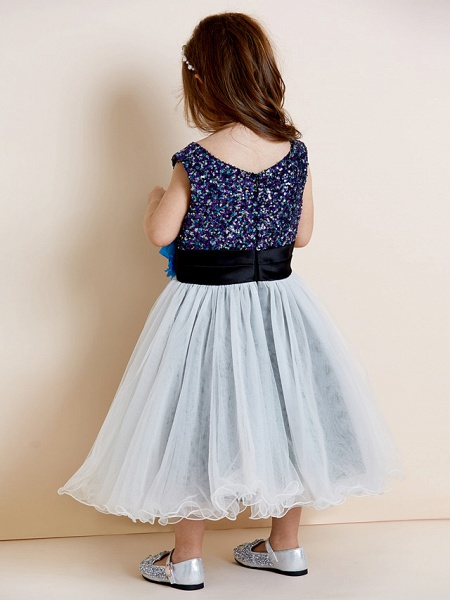 A-Line Tea Length Tulle / Sequined Sleeveless Jewel Neck With Sash / Ribbon / Sequin / Draping / Mini Me_2