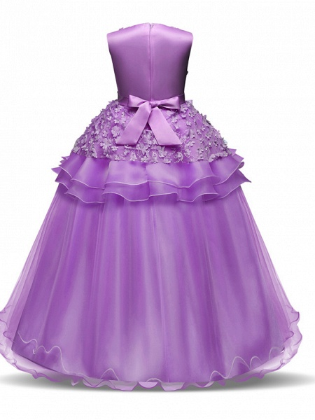 Princess Long Length Wedding / First Communion Flower Girl Dresses - Chiffon / Satin / Tulle Sleeveless Jewel Neck With Bow(S) / Tier / Appliques_3