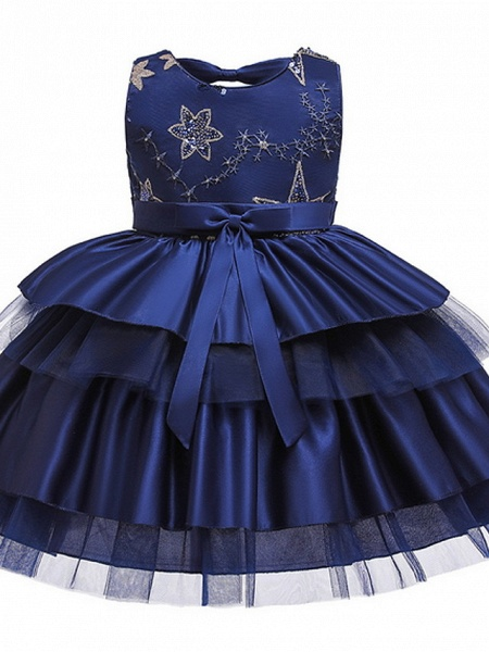 Ball Gown Knee Length Wedding / Party Flower Girl Dresses - Tulle / Mikado Sleeveless Jewel Neck With Bow(S) / Tier / Paillette_3