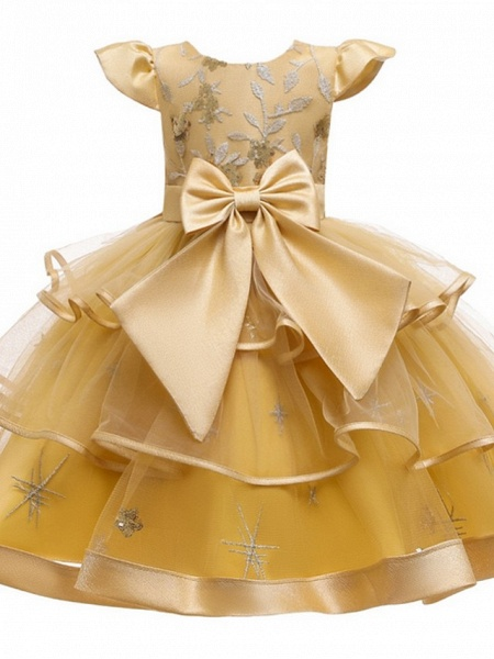 Princess / Ball Gown Knee Length Wedding / Party Flower Girl Dresses - Tulle Short Sleeve Jewel Neck With Bow(S) / Embroidery / Cascading Ruffles_7