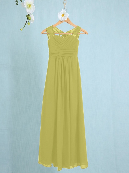 Sheath / Column Straps Ankle Length Chiffon Junior Bridesmaid Dress With Ruched / Natural_15