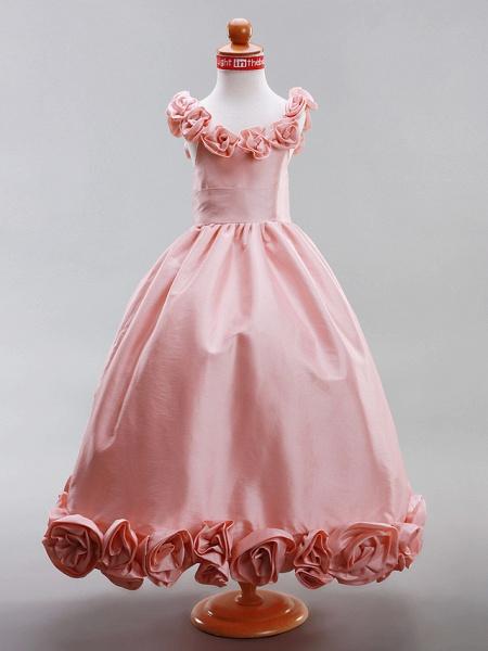 A-Line / Princess Floor Length Flower Girl Dress - Taffeta Sleeveless Scoop Neck With Draping / Flower By Lan Ting Bride? / Spring / Summer / Fall / Winter / Wedding Party_1