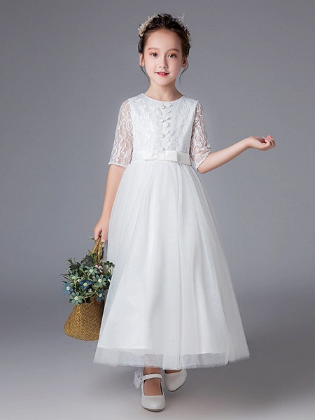 Princess Ankle Length Wedding / First Communion Flower Girl Dresses - Polyester Half Sleeve Jewel Neck With Lace_1