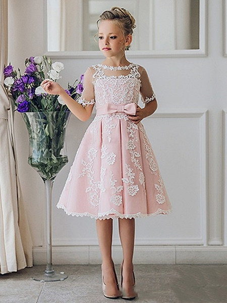 Princess / Ball Gown Knee Length Wedding / Party Flower Girl Dresses - Lace Short Sleeve Jewel Neck With Bow(S) / Appliques_6