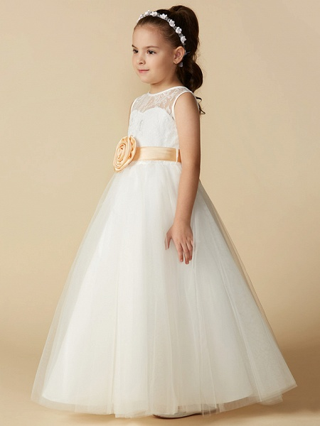 Princess Ankle Length Wedding / First Communion Flower Girl Dresses - Lace / Tulle Sleeveless Jewel Neck With Sash / Ribbon / Bow(S) / Flower_3