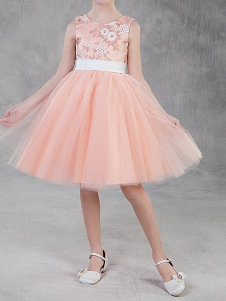 A-Line Knee Length Pageant Flower Girl Dresses - Polyester Sleeveless Jewel Neck With Appliques_1