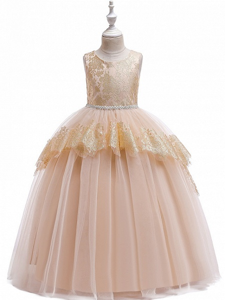 Princess Floor Length Wedding / Party / Pageant Flower Girl Dresses - Lace / Satin / Tulle Sleeveless Jewel Neck With Belt / Crystals / Beading_1