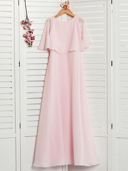 A-Line Jewel Neck Maxi Chiffon Junior Bridesmaid Dress With Ruffles_1