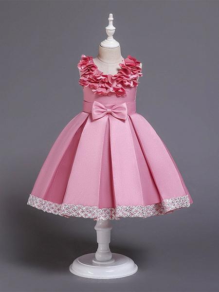 Princess Knee Length Wedding / Party / Pageant Flower Girl Dresses - Satin / Cotton Sleeveless Jewel Neck With Petal / Belt / Bow(S)_5