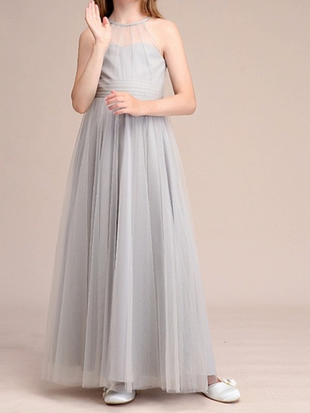 A-Line Floor Length Pageant Flower Girl Dresses - Polyester Sleeveless Halter Neck With Bow(S) / Pleats_2