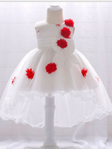 Ball Gown Court Train Wedding / Party Flower Girl Dresses - Satin / Tulle Sleeveless Jewel Neck With Bow(S) / Appliques_3
