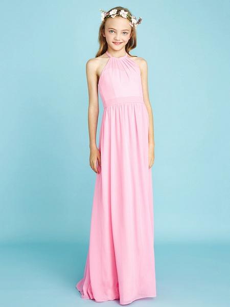 A-Line Halter Neck Floor Length Chiffon Junior Bridesmaid Dress With Sash / Ribbon / Natural_6