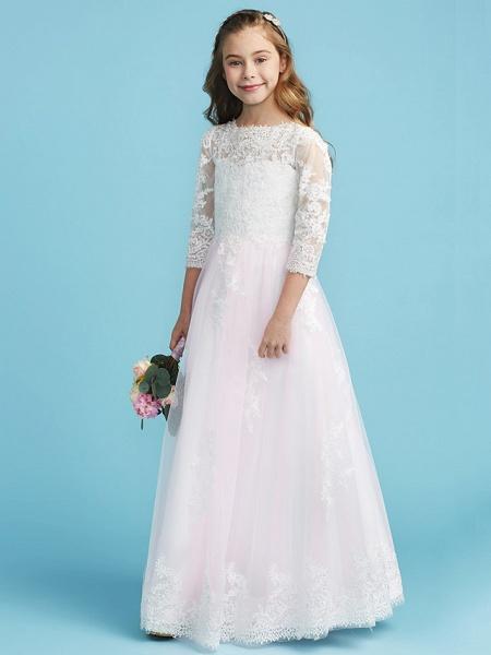 Princess / A-Line Crew Neck Floor Length Lace Junior Bridesmaid Dress With Lace_1