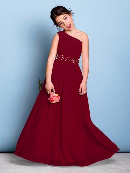 A-Line One Shoulder Floor Length Chiffon Junior Bridesmaid Dress With Sash / Ribbon / Beading / Side Draping / Natural_15